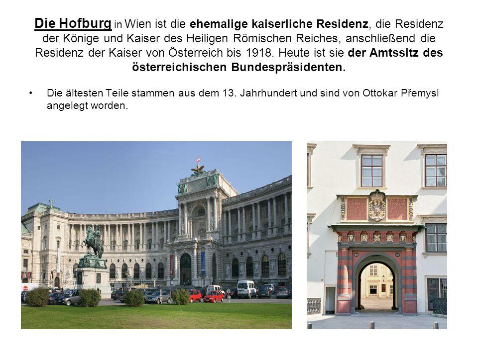 Die Hofburg in Wien ist die ehemalige kaiserliche Residenz, die Residenz der Könige und Kaiser des Heiligen Römischen Reiches, anschließend die Reside