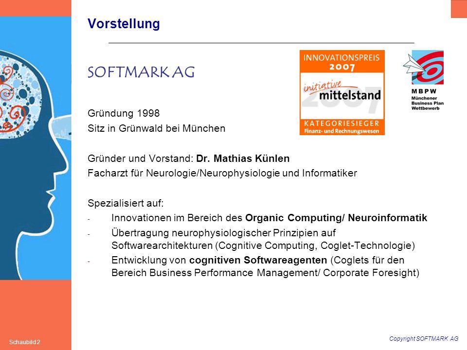 Copyright SOFTMARK AG Schaubild 33 SOFTMARK AG www.softmark.de Hirtenweg 2a 82031 Grünwald Tel.: 089/61300430 Fax: 089/61300432 Mail: mk@softmark.demk@softmark.de Quidquid agis, prudenter agas et respice finem.