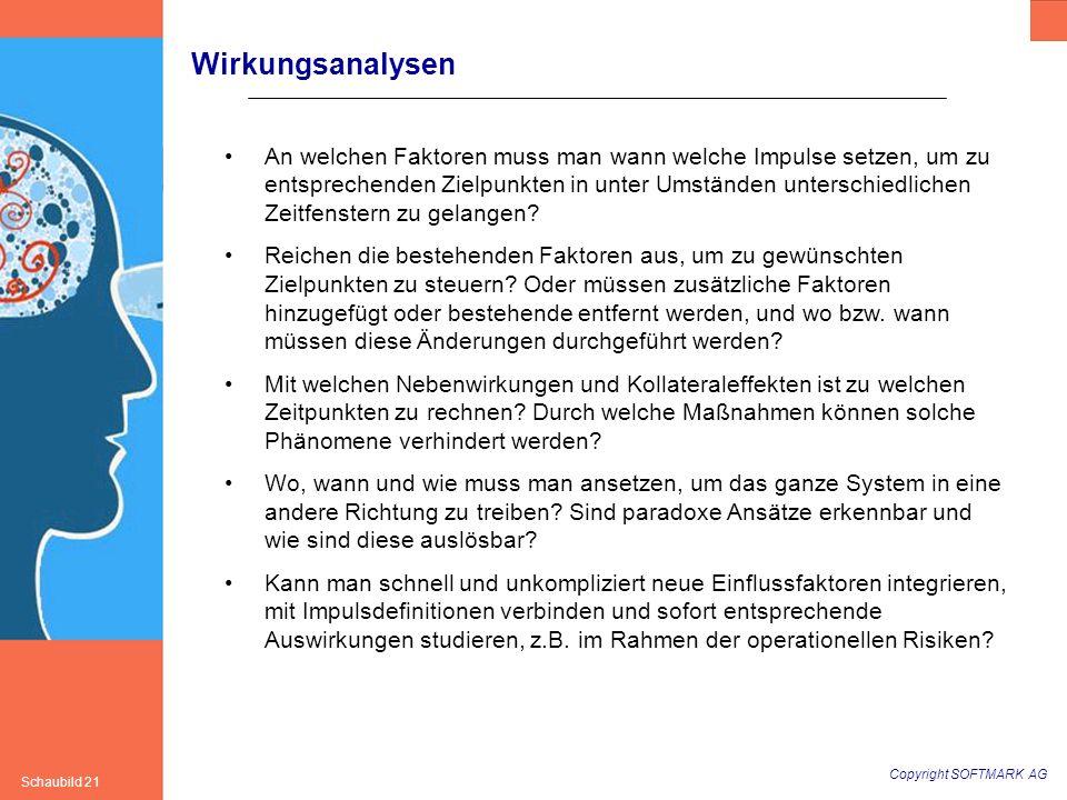 Copyright SOFTMARK AG Schaubild 21 Wirkungsanalysen An welchen Faktoren muss man wann welche Impulse setzen, um zu entsprechenden Zielpunkten in unter