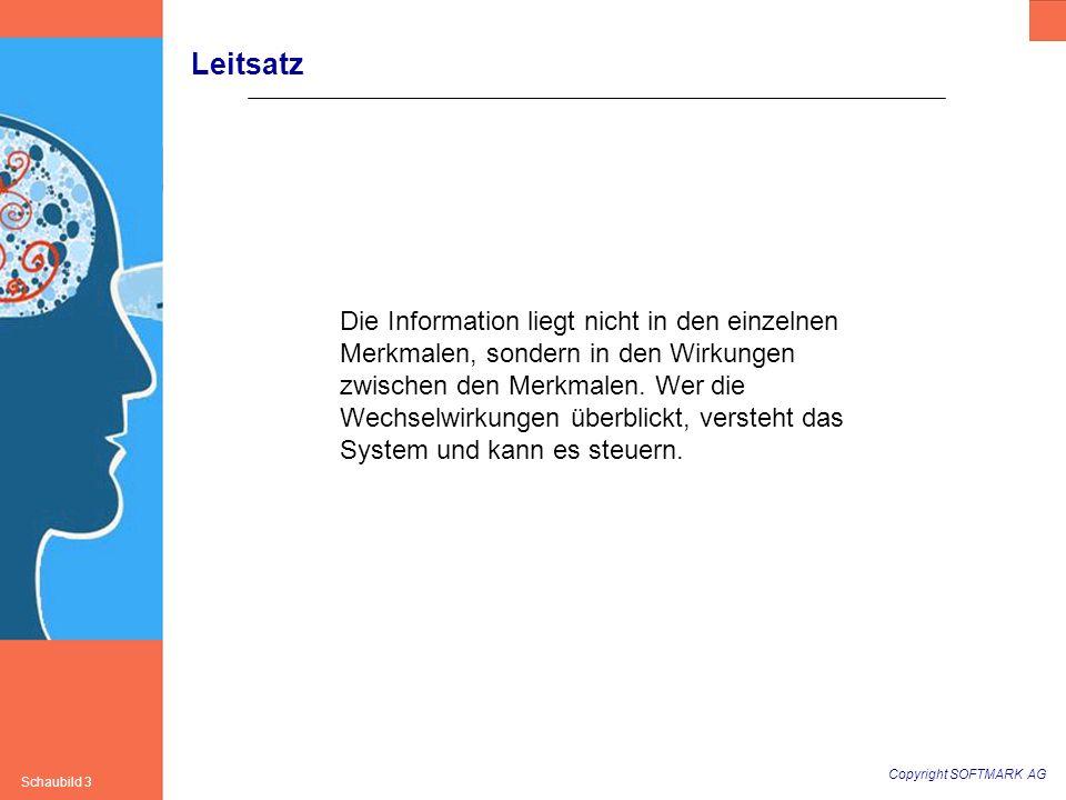 Copyright SOFTMARK AG Schaubild 3 Leitsatz Die Information liegt nicht in den einzelnen Merkmalen, sondern in den Wirkungen zwischen den Merkmalen. We