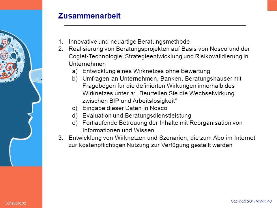 Copyright SOFTMARK AG Schaubild 32 Zusammenarbeit 1.Innovative und neuartige Beratungsmethode 2.Realisierung von Beratungsprojekten auf Basis von Nosc