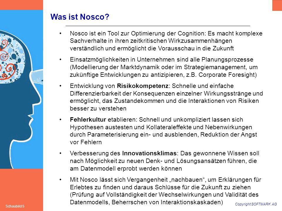 Copyright SOFTMARK AG Schaubild 5 Was ist Nosco? Nosco ist ein Tool zur Optimierung der Cognition: Es macht komplexe Sachverhalte in ihren zeitkritisc
