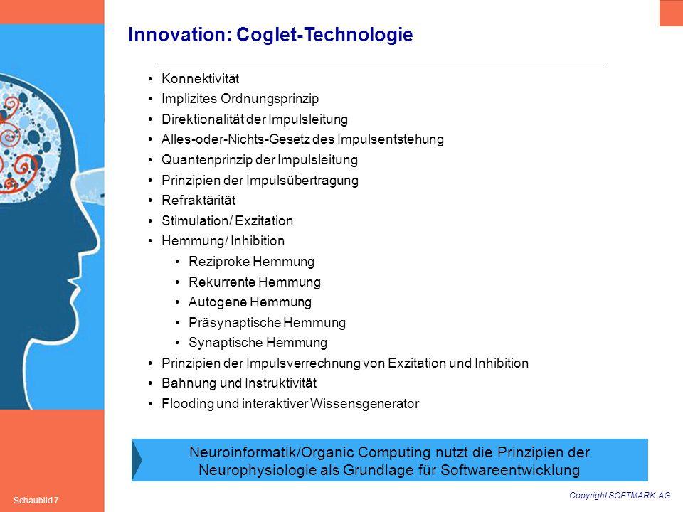 Copyright SOFTMARK AG Schaubild 7 Innovation: Coglet-Technologie Konnektivität Implizites Ordnungsprinzip Direktionalität der Impulsleitung Alles-oder