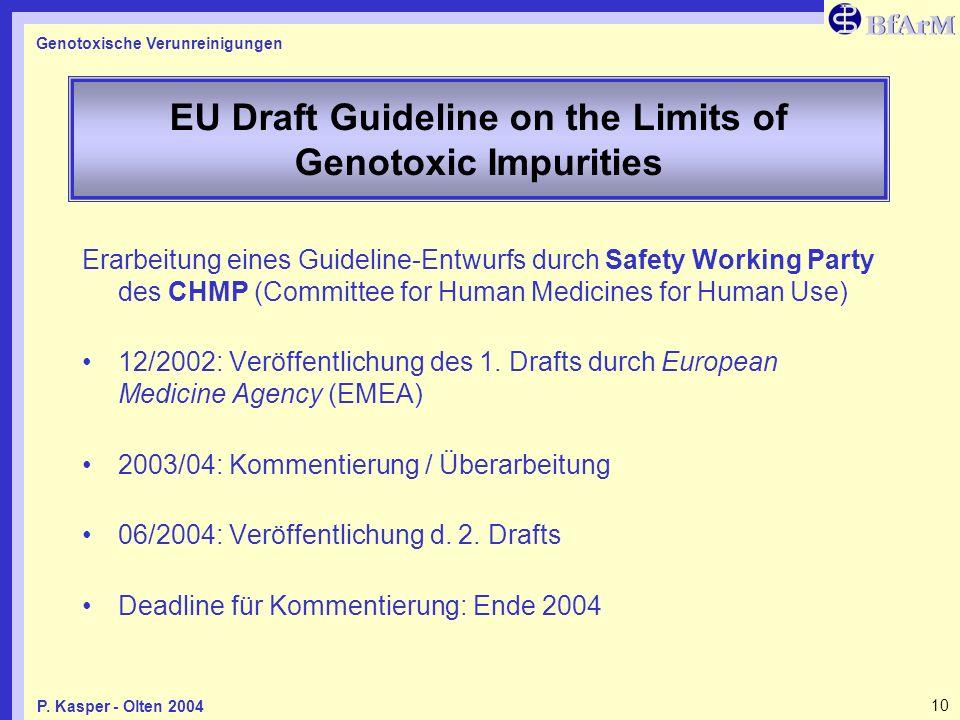 Genotoxische Verunreinigungen 10P. Kasper - Olten 2004 EU Draft Guideline on the Limits of Genotoxic Impurities Erarbeitung eines Guideline-Entwurfs d