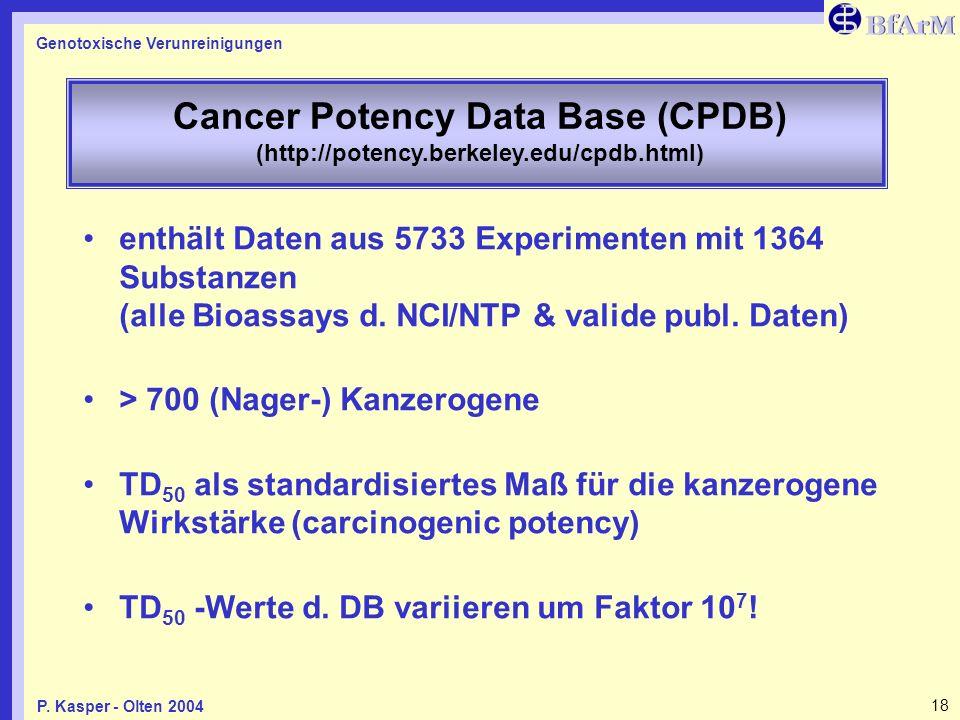 Genotoxische Verunreinigungen 18P. Kasper - Olten 2004 Cancer Potency Data Base (CPDB) (http://potency.berkeley.edu/cpdb.html) enthält Daten aus 5733