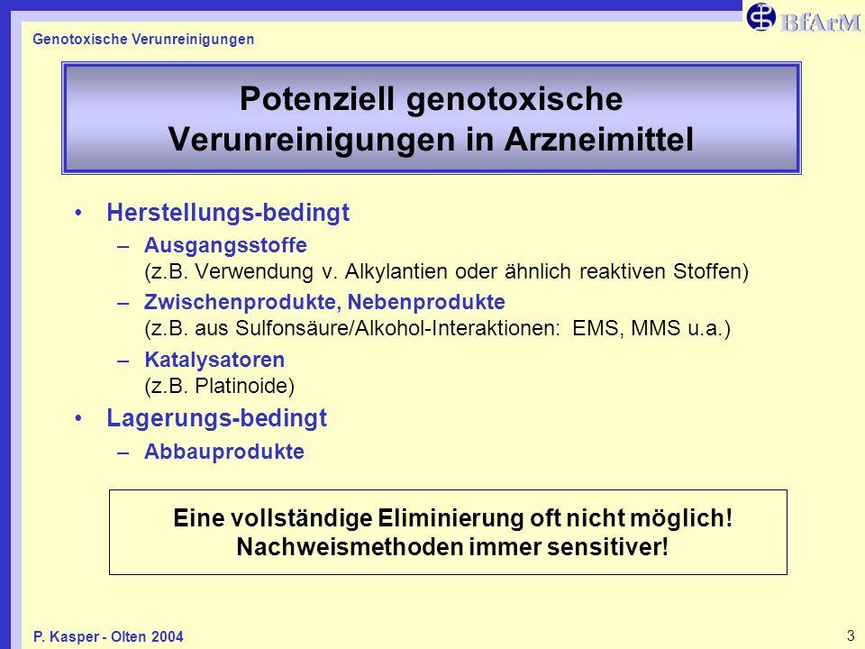 Genotoxische Verunreinigungen 3P. Kasper - Olten 2004 Potenziell genotoxische Verunreinigungen in Arzneimittel Herstellungs-bedingt –Ausgangsstoffe (z