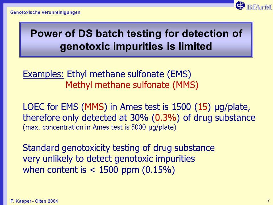 Genotoxische Verunreinigungen 7P. Kasper - Olten 2004 Power of DS batch testing for detection of genotoxic impurities is limited Examples: Ethyl metha