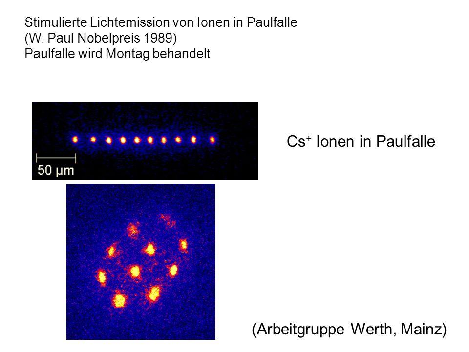 (Arbeitgruppe Werth, Mainz) Cs + Ionen in Paulfalle Stimulierte Lichtemission von Ionen in Paulfalle (W. Paul Nobelpreis 1989) Paulfalle wird Montag b