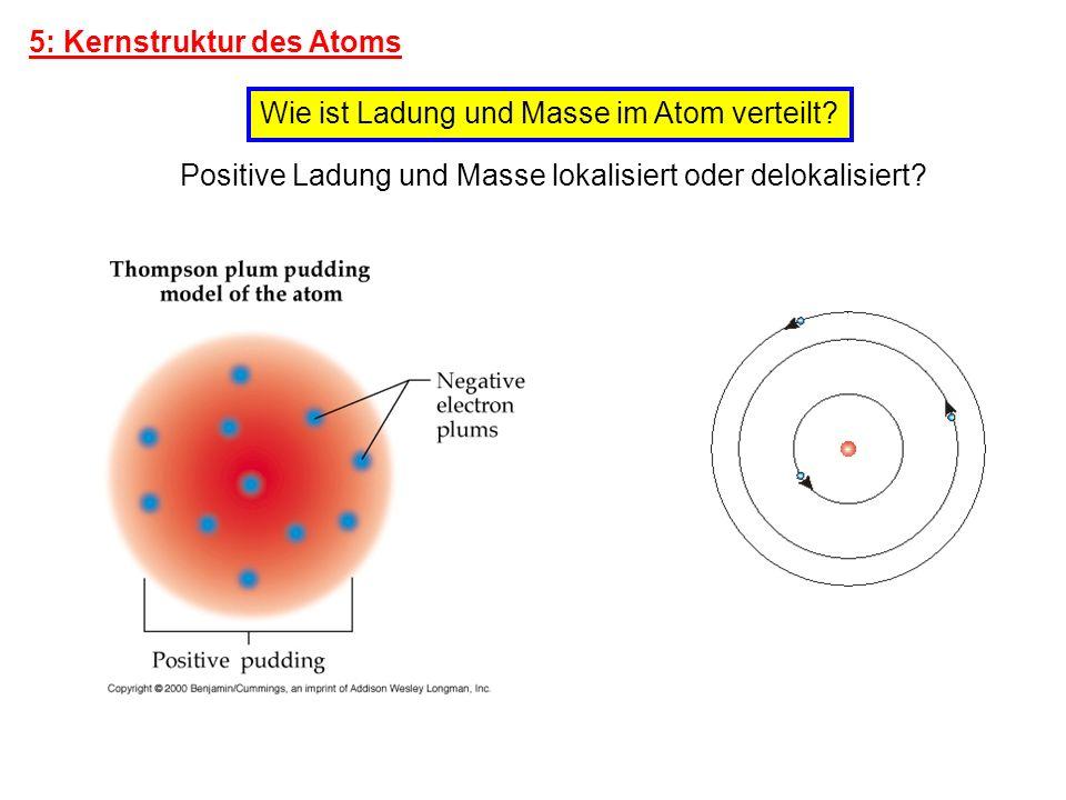 5: Kernstruktur des Atoms Wie ist Ladung und Masse im Atom verteilt? Positive Ladung und Masse lokalisiert oder delokalisiert?