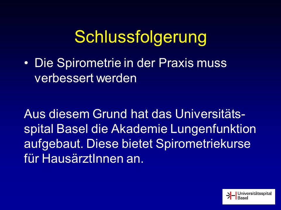 Schlussfolgerung Die Spirometrie in der Praxis muss verbessert werden Aus diesem Grund hat das Universitäts- spital Basel die Akademie Lungenfunktion