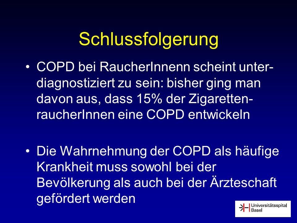 Schlussfolgerung COPD bei RaucherInnenn scheint unter- diagnostiziert zu sein: bisher ging man davon aus, dass 15% der Zigaretten- raucherInnen eine C