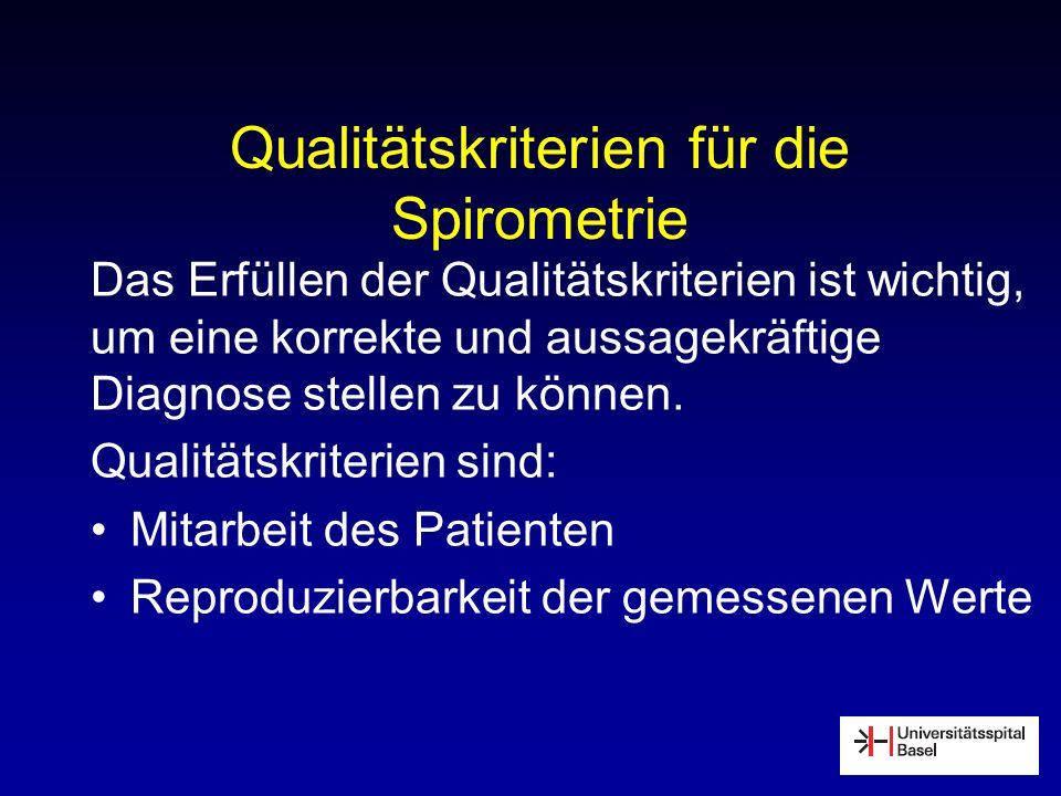Qualitätskriterien für die Spirometrie Das Erfüllen der Qualitätskriterien ist wichtig, um eine korrekte und aussagekräftige Diagnose stellen zu könne
