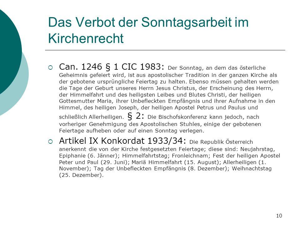 10 Das Verbot der Sonntagsarbeit im Kirchenrecht Can. 1246 § 1 CIC 1983: Der Sonntag, an dem das österliche Geheimnis gefeiert wird, ist aus apostolis