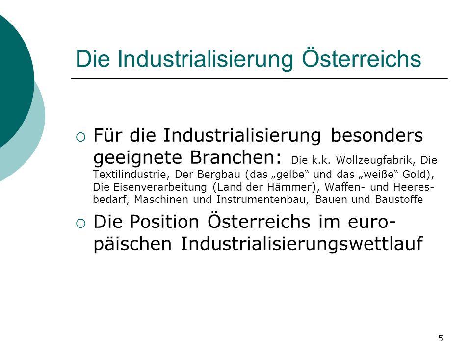 5 Die Industrialisierung Österreichs Für die Industrialisierung besonders geeignete Branchen: Die k.k. Wollzeugfabrik, Die Textilindustrie, Der Bergba