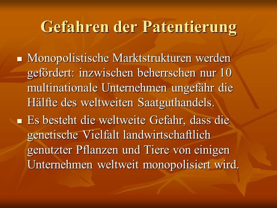 Gefahren der Patentierung Monopolistische Marktstrukturen werden gefördert: inzwischen beherrschen nur 10 multinationale Unternehmen ungefähr die Hälf