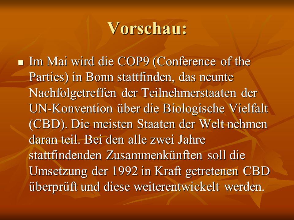 Vorschau: Im Mai wird die COP9 (Conference of the Parties) in Bonn stattfinden, das neunte Nachfolgetreffen der Teilnehmerstaaten der UN-Konvention üb