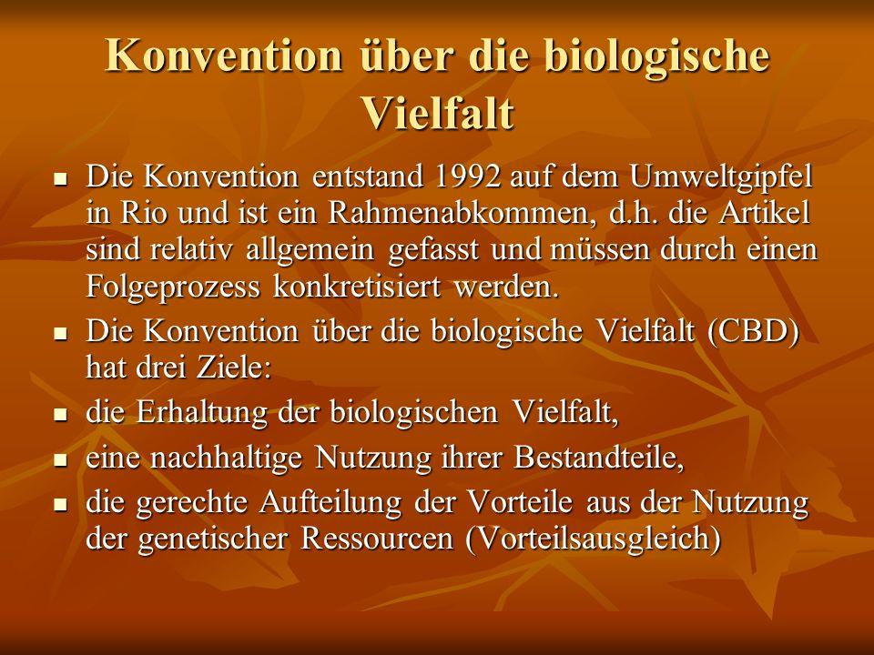 Konvention über die biologische Vielfalt Die Konvention entstand 1992 auf dem Umweltgipfel in Rio und ist ein Rahmenabkommen, d.h. die Artikel sind re