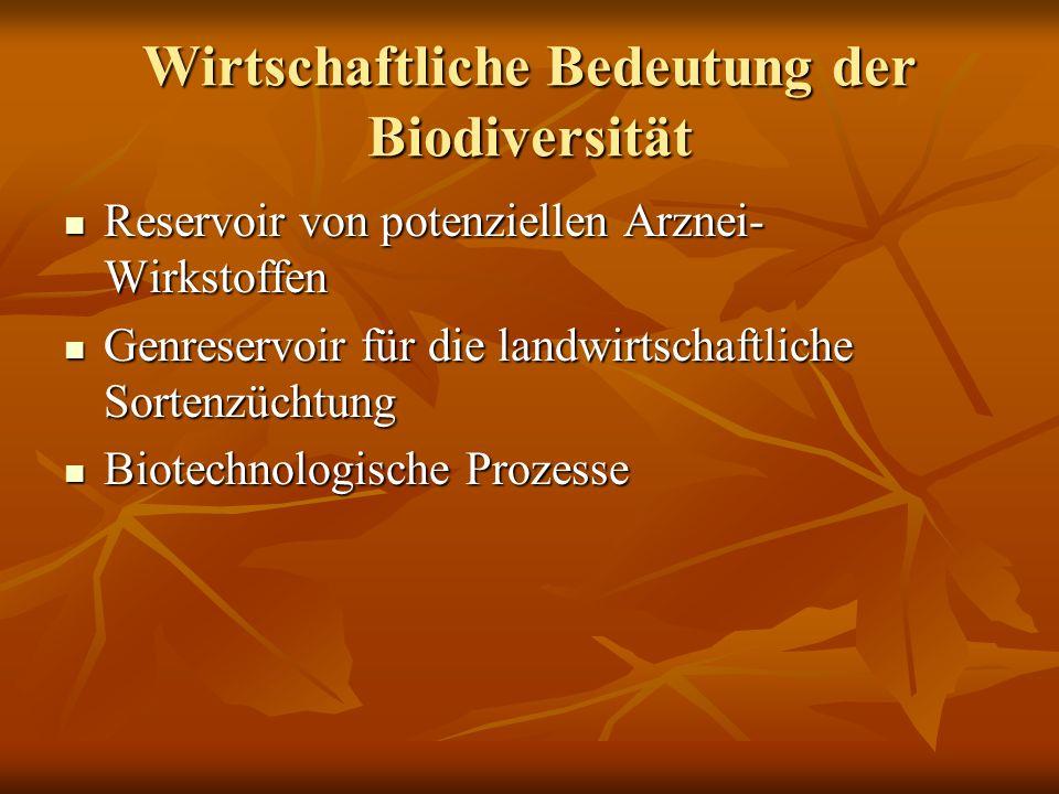 Wirtschaftliche Bedeutung der Biodiversität Reservoir von potenziellen Arznei- Wirkstoffen Reservoir von potenziellen Arznei- Wirkstoffen Genreservoir