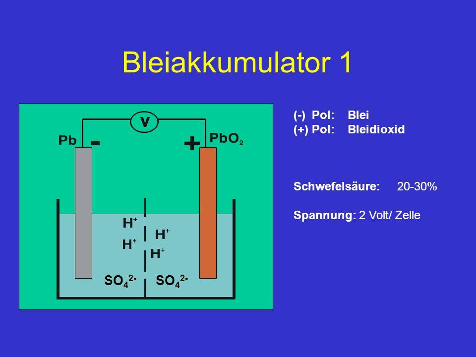 Bleiakkumulator 1 (-) Pol: Blei (+) Pol: Bleidioxid Schwefelsäure: 20-30% Spannung: 2 Volt/ Zelle SO 4 2-