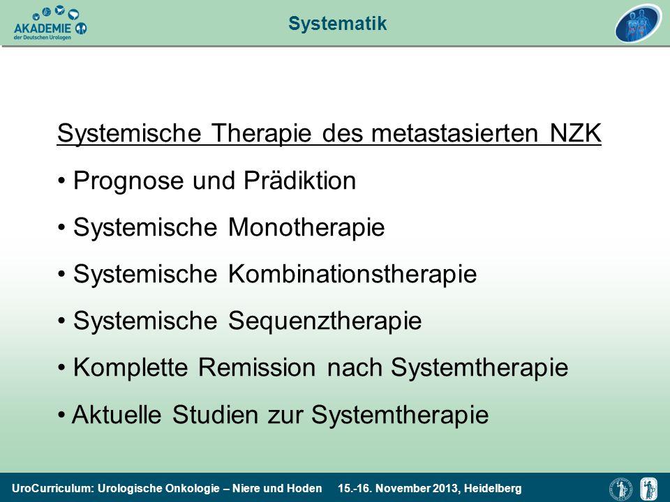 UroCurriculum: Urologische Onkologie – Niere und Hoden 15.-16. November 2013, Heidelberg Systemische Therapie des metastasierten NZK Prognose und Präd