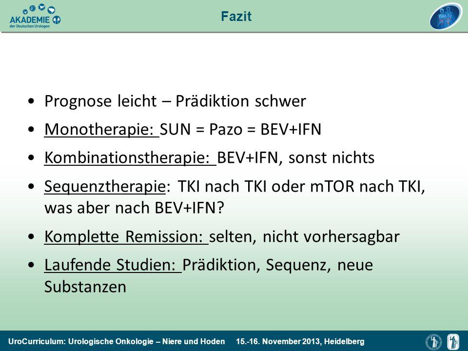 UroCurriculum: Urologische Onkologie – Niere und Hoden 15.-16. November 2013, Heidelberg Fazit Prognose leicht – Prädiktion schwer Monotherapie: SUN =