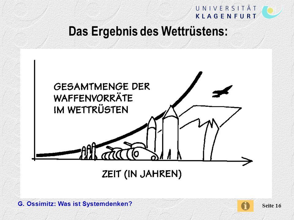 G. Ossimitz: Was ist Systemdenken? Seite 16 Das Ergebnis des Wettrüstens: