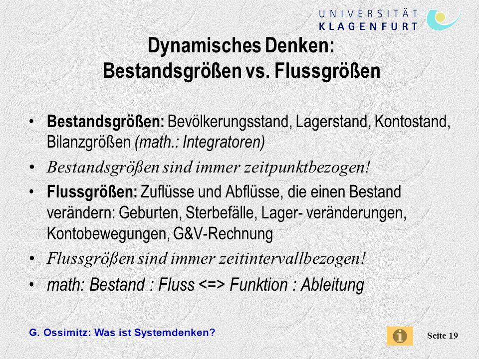 G.Ossimitz: Was ist Systemdenken. Seite 19 Dynamisches Denken: Bestandsgrößen vs.