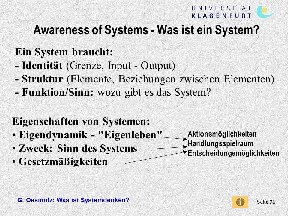 G.Ossimitz: Was ist Systemdenken. Seite 31 Awareness of Systems - Was ist ein System.