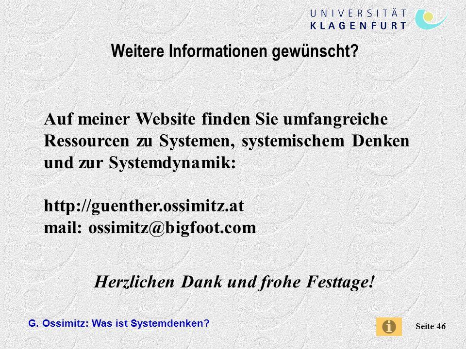 G.Ossimitz: Was ist Systemdenken. Seite 46 Weitere Informationen gewünscht.