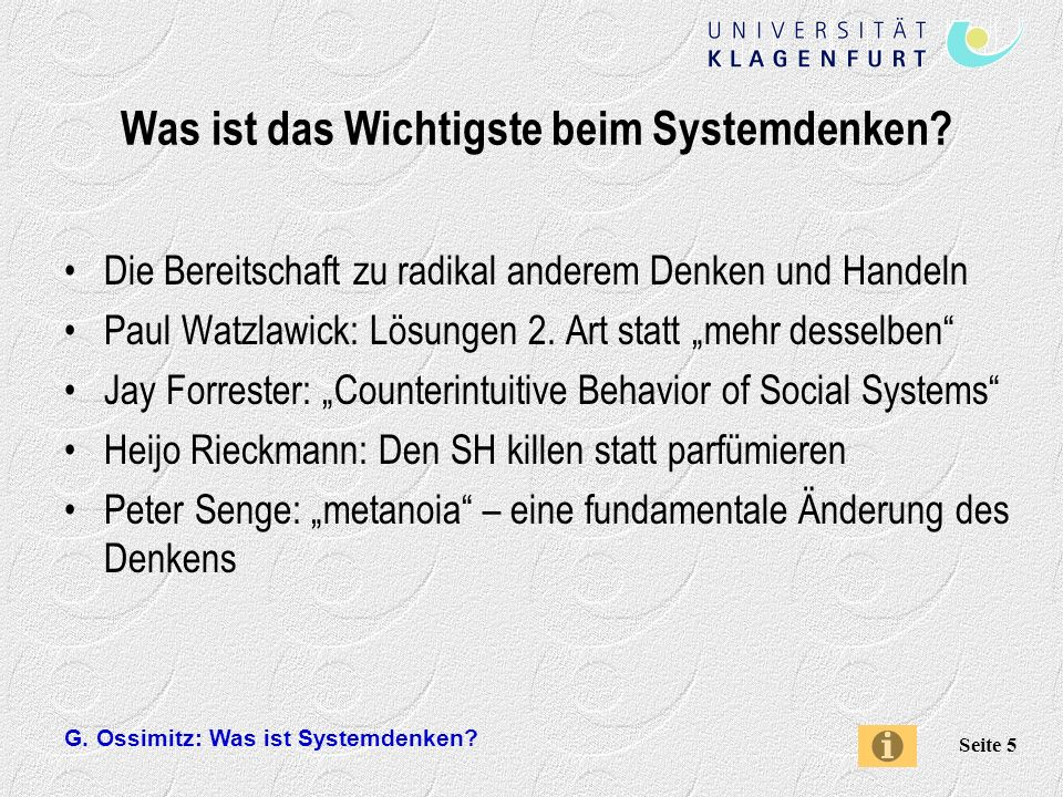 G.Ossimitz: Was ist Systemdenken. Seite 36 Was leistet Senges Systemansatz .