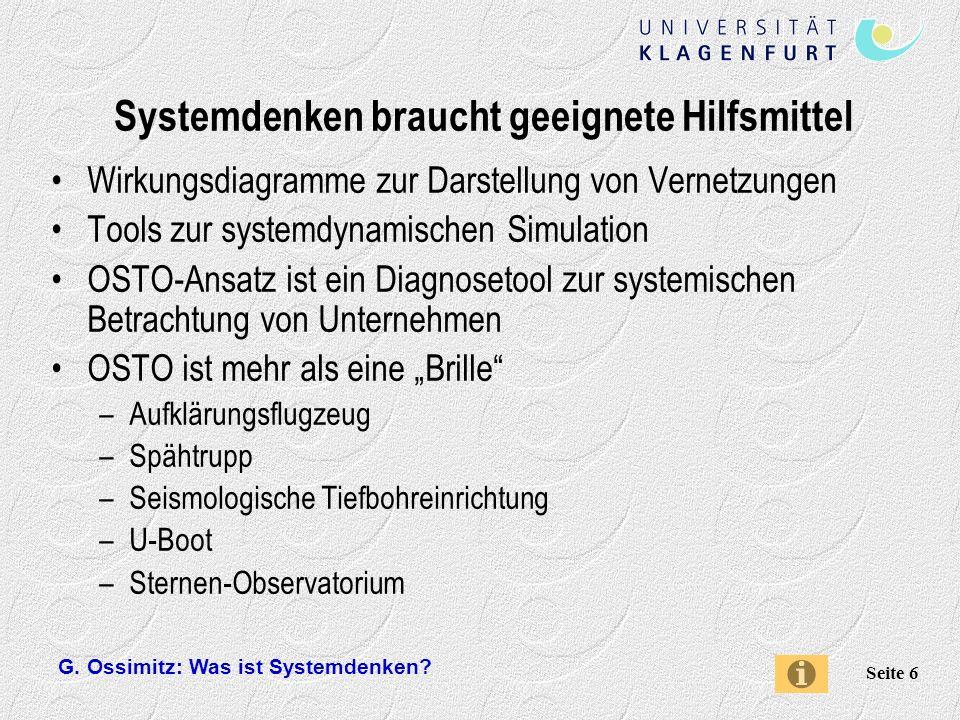 G. Ossimitz: Was ist Systemdenken? Seite 17 Dynamisches Denken: Wörthersee-Überflutung