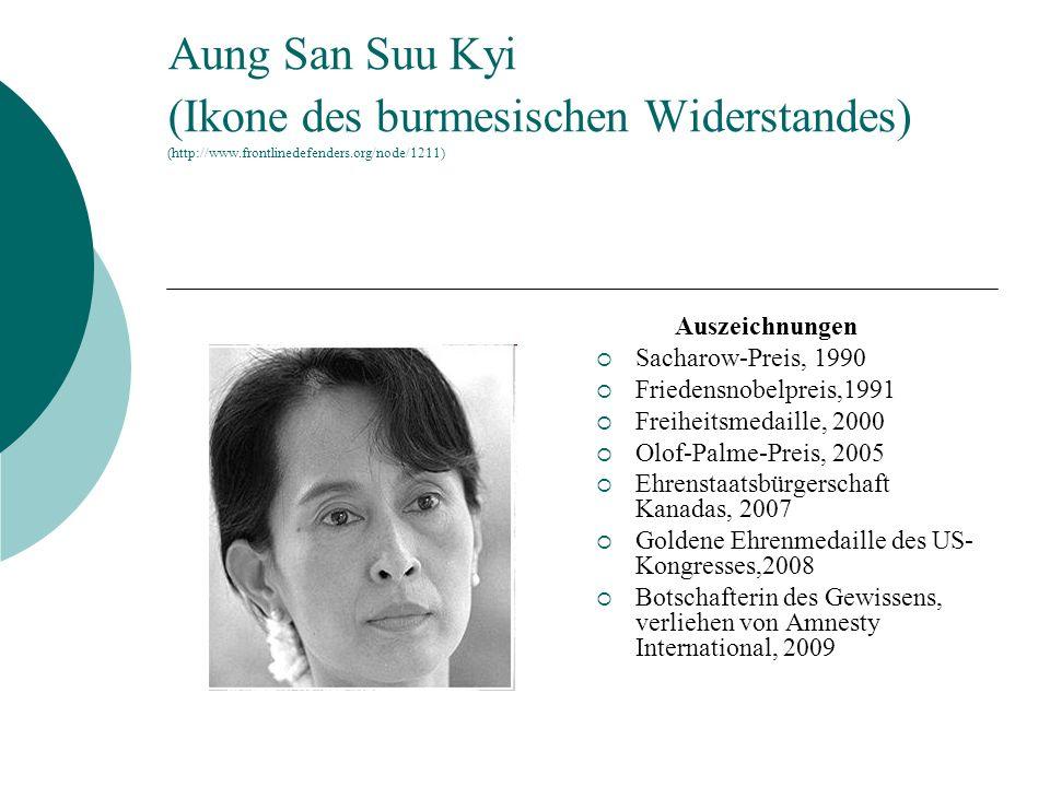 Aung San Suu Kyi (Ikone des burmesischen Widerstandes) (http://www.frontlinedefenders.org/node/1211) Auszeichnungen Sacharow-Preis, 1990 Friedensnobel