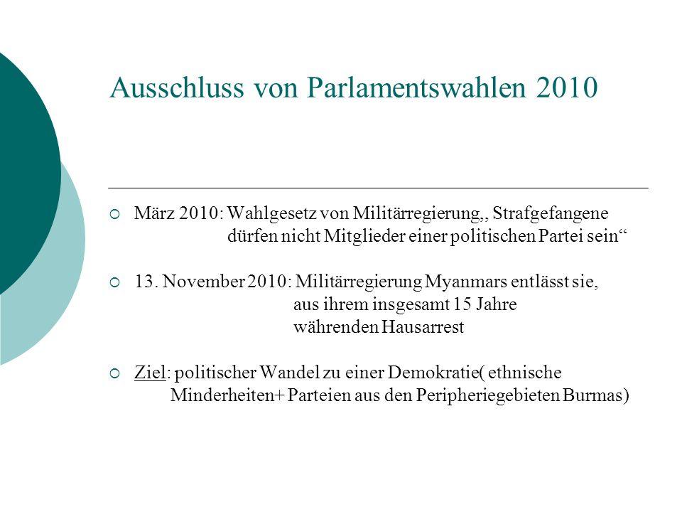 Ausschluss von Parlamentswahlen 2010 März 2010: Wahlgesetz von Militärregierung,, Strafgefangene dürfen nicht Mitglieder einer politischen Partei sein