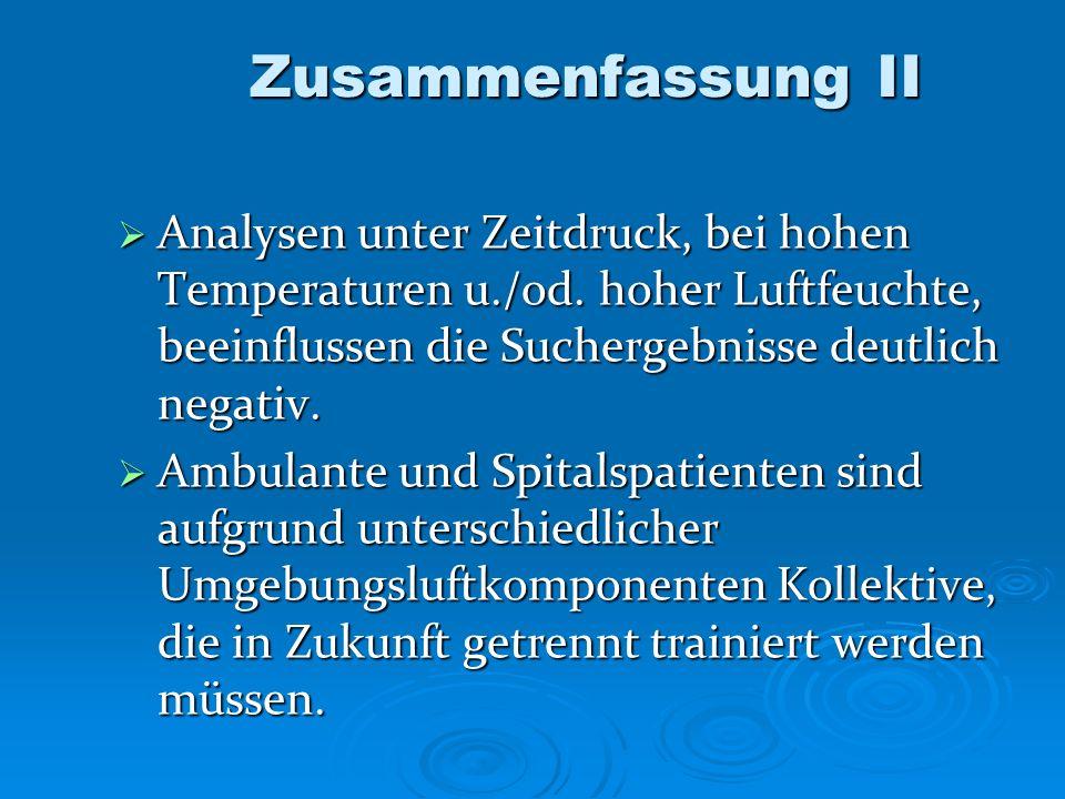 Zusammenfassung II Analysen unter Zeitdruck, bei hohen Temperaturen u./od. hoher Luftfeuchte, beeinflussen die Suchergebnisse deutlich negativ. Analys