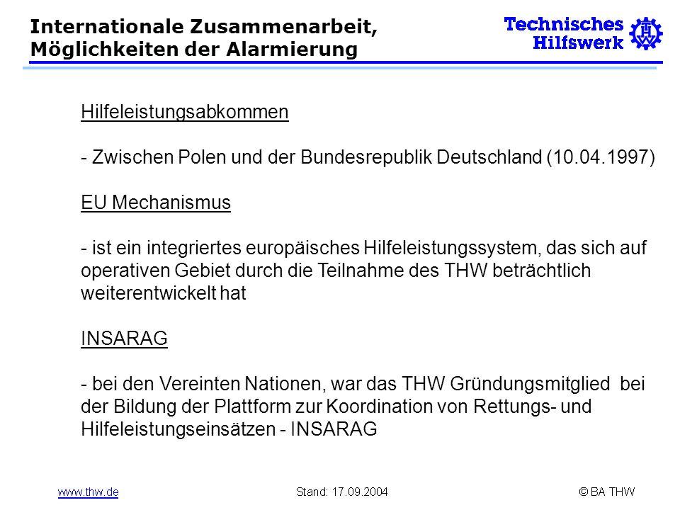 Hilfeleistungsabkommen - Zwischen Polen und der Bundesrepublik Deutschland (10.04.1997) EU Mechanismus - ist ein integriertes europäisches Hilfeleistu