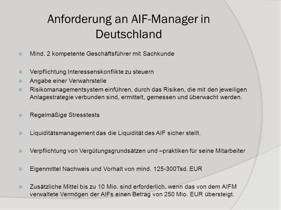 Anforderung an AIF-Manager in Deutschland Mind. 2 kompetente Geschäftsführer mit Sachkunde Verpflichtung Interessenskonflikte zu steuern Angabe einer