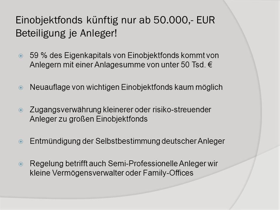 Einobjektfonds künftig nur ab 50.000,- EUR Beteiligung je Anleger! 59 % des Eigenkapitals von Einobjektfonds kommt von Anlegern mit einer Anlagesumme