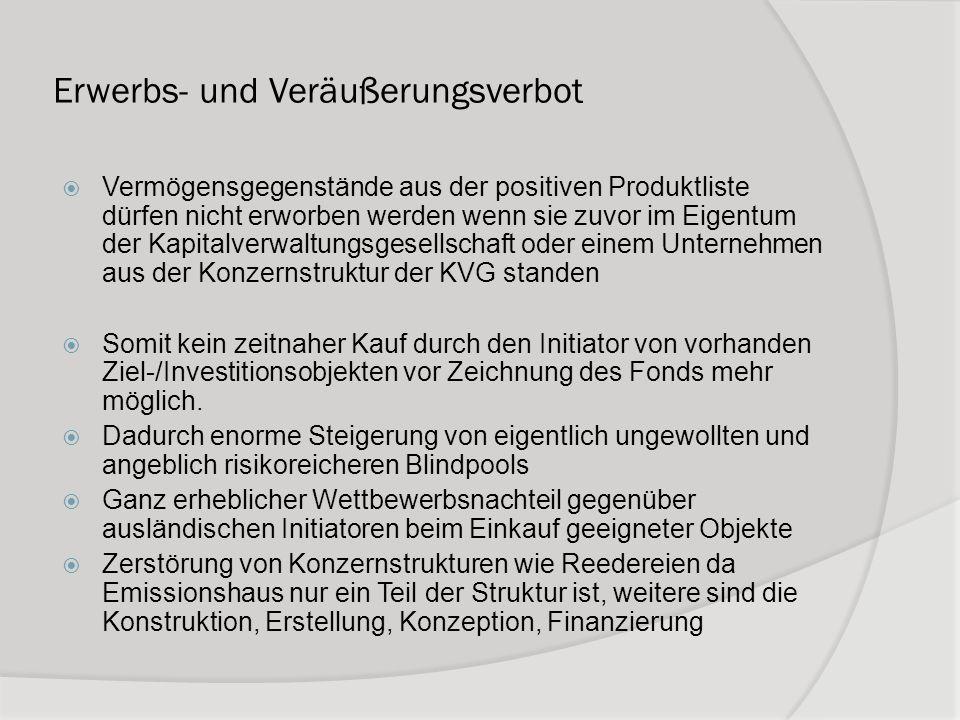 Erwerbs- und Veräußerungsverbot Vermögensgegenstände aus der positiven Produktliste dürfen nicht erworben werden wenn sie zuvor im Eigentum der Kapita