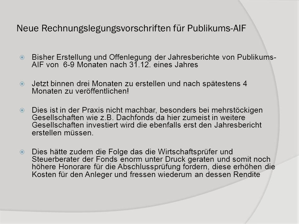 Neue Rechnungslegungsvorschriften für Publikums-AIF Bisher Erstellung und Offenlegung der Jahresberichte von Publikums- AIF von 6-9 Monaten nach 31.12