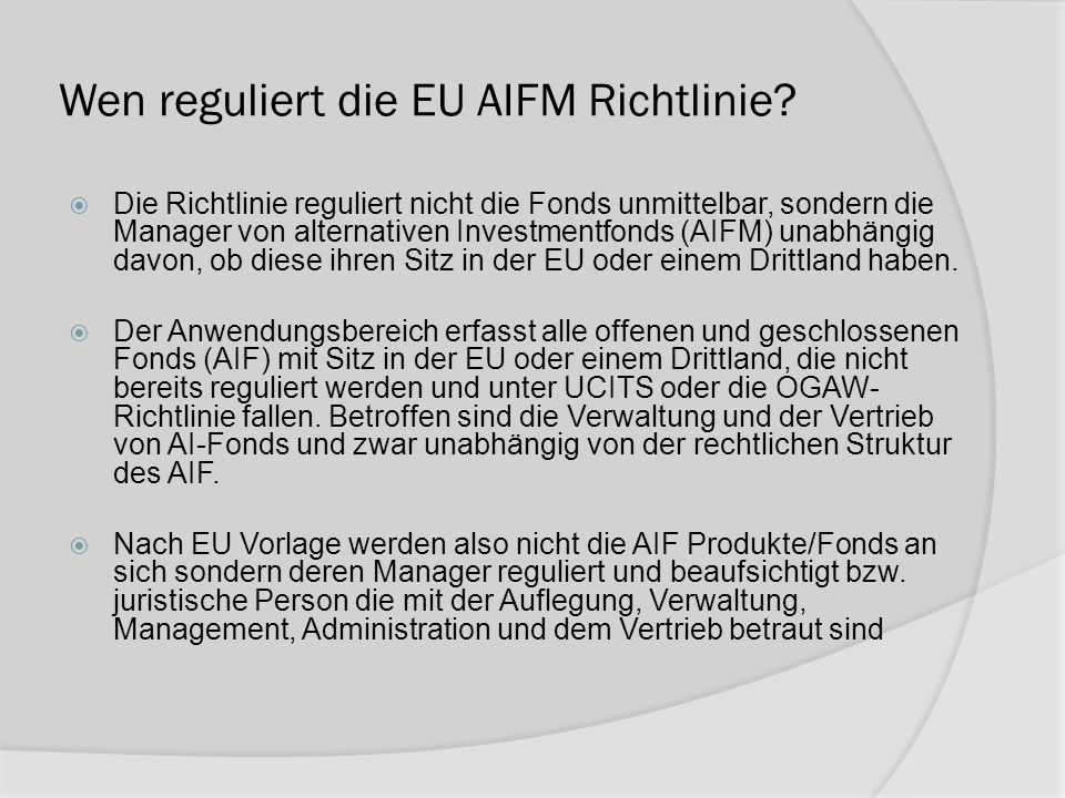Was sind AIF nach Definition der EU.