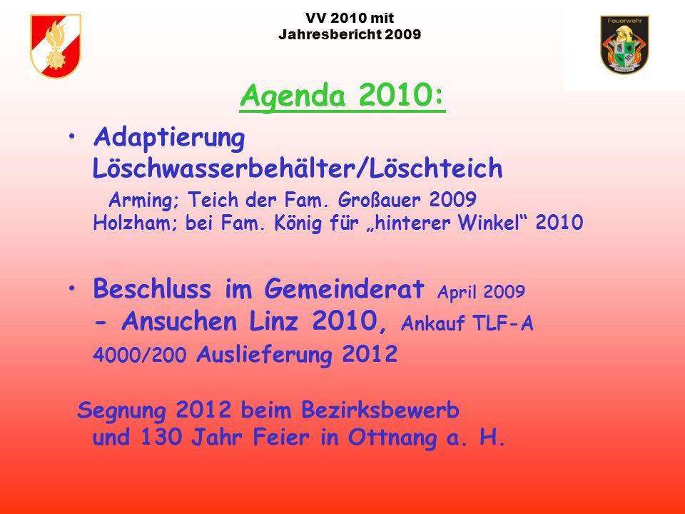 VV 2010 mit Jahresbericht 2009 Termine 2010: Abbruch Bürogebäude Weidinger Maibaum 30. April Floriani Feier am 02. Mai Sprengung Kaiser Hof 18. Mai ca