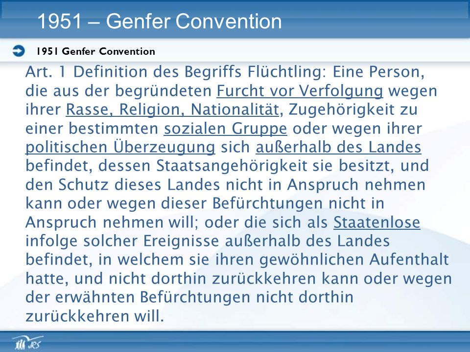 1951 Genfer Convention 1951 – Genfer Convention Art.