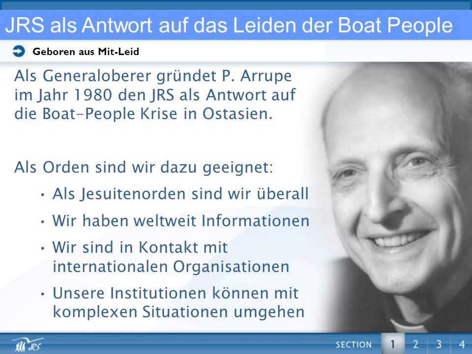 Click here and type in your main text. JRS als Antwort auf das Leiden der Boat People Als Generaloberer gründet P. Arrupe im Jahr 1980 den JRS als Ant
