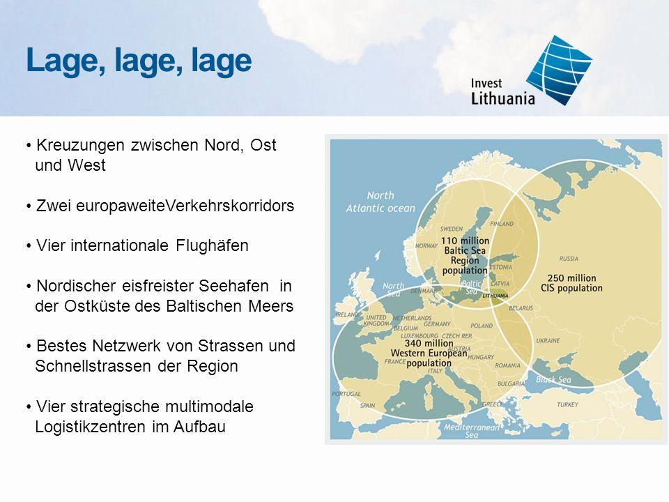 Kreuzungen zwischen Nord, Ost und West Zwei europaweiteVerkehrskorridors Vier internationale Flughäfen Nordischer eisfreister Seehafen in der Ostküste