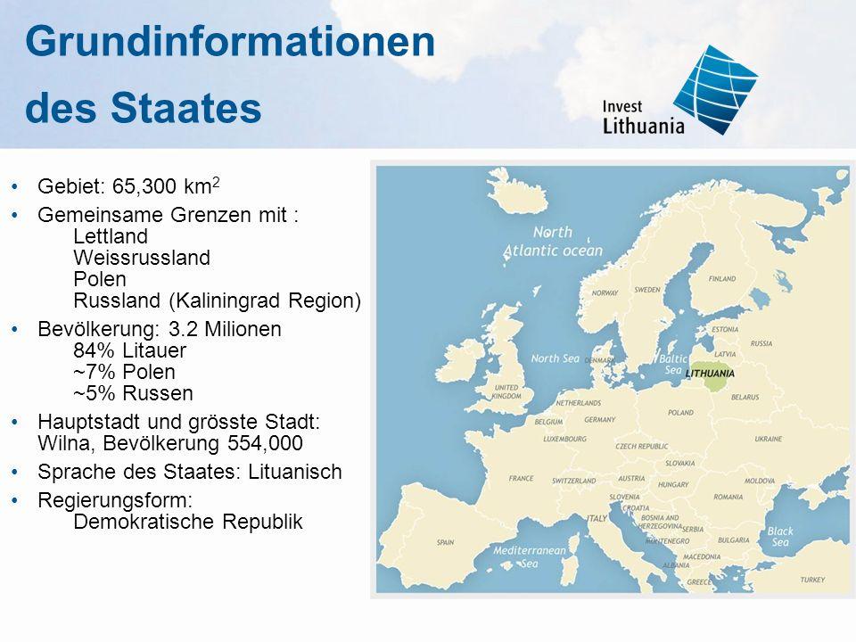 Grundinformationen des Staates Gebiet: 65,300 km 2 Gemeinsame Grenzen mit : Lettland Weissrussland Polen Russland (Kaliningrad Region) Bevölkerung: 3.