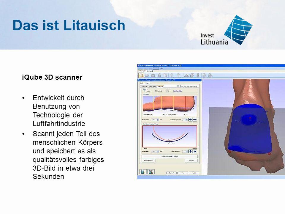 iQube 3D scanner Entwickelt durch Benutzung von Technologie der Luftfahrtindustrie Scannt jeden Teil des menschlichen Körpers und speichert es als qua