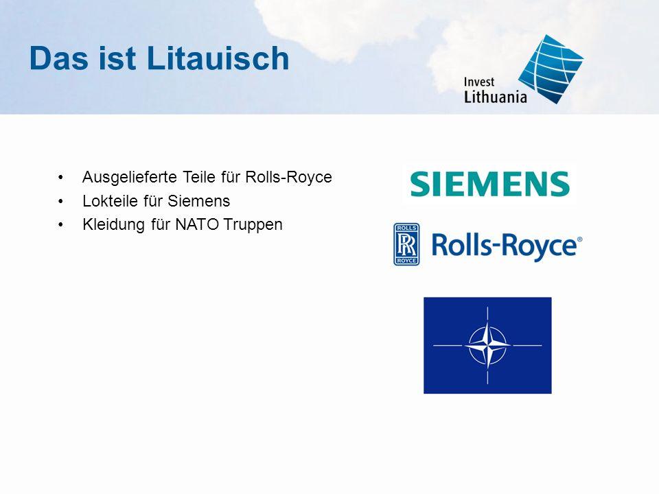 Ausgelieferte Teile für Rolls-Royce Lokteile für Siemens Kleidung für NATO Truppen Das ist Litauisch