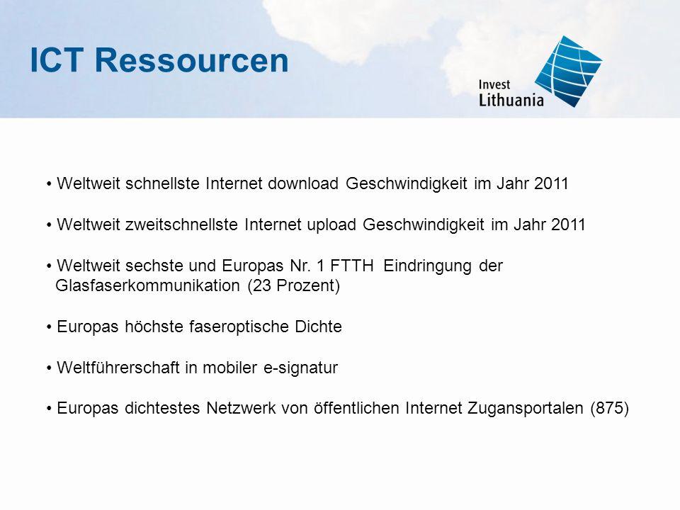 ICT Ressourcen Weltweit schnellste Internet download Geschwindigkeit im Jahr 2011 Weltweit zweitschnellste Internet upload Geschwindigkeit im Jahr 201