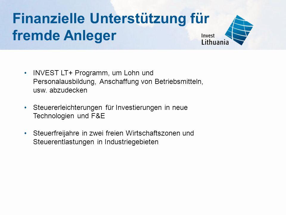 INVEST LT+ Programm, um Lohn und Personalausbildung, Anschaffung von Betriebsmitteln, usw. abzudecken Steuererleichterungen für Investierungen in neue
