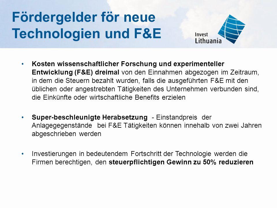 Fördergelder för neue Technologien und F&E Kosten wissenschaftlicher Forschung und experimenteller Entwicklung (F&E) dreimal von den Einnahmen abgezog